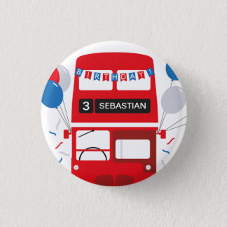 London Red Bus Personalised Birthday Badge 1 Inch Round Button