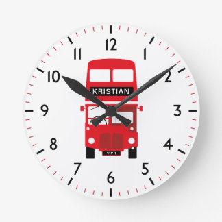 London Red Bus Personalised Numbered Clock
