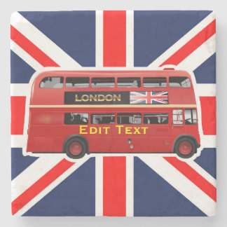 London Red Bus Stone Beverage Coaster