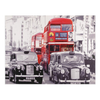 London, red buses and black cabs postcard