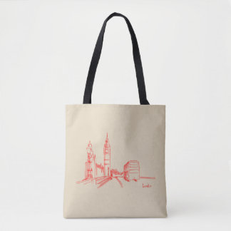 London Red Clock Tower Double Decker Sketch Tote Bag