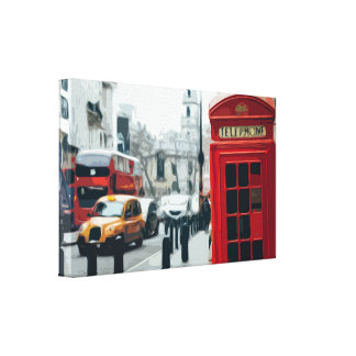 London Red Telephone Booth and Double-decker Bus Canvas Print