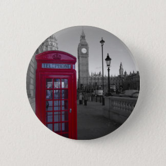 London Red Telephone box 2 Inch Round Button