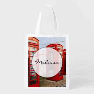 London Red Telephone Boxes, Photograph Reusable Grocery Bag