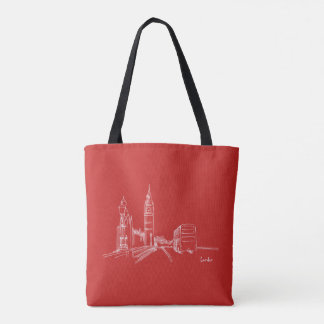 London Red White Clock Tower Double Decker Sketch Tote Bag