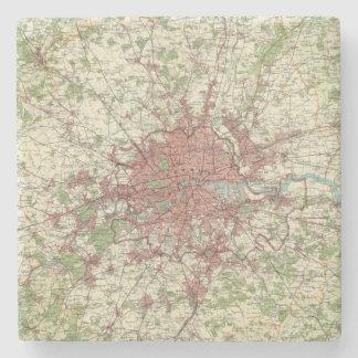 London Region Map Stone Beverage Coaster
