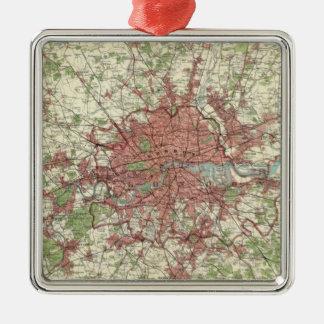 London Region Map Silver-Colored Square Ornament