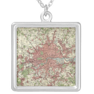 London Region Map Silver Plated Necklace