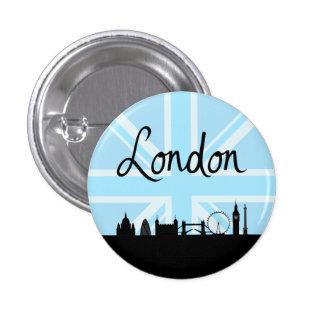 London Script on Union Jack Sky & Sites 1 Inch Round Button