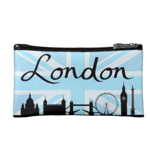 London Script on Union Jack Sky & Sites Cosmetic Bag