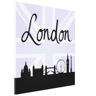 London Script on Union Jack Sky & Sites Purple Canvas Print
