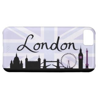 London Script on Union Jack Sky & Sites Purple iPhone 5C Cover