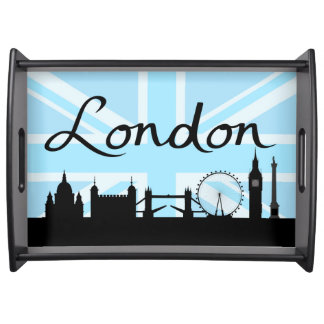 London Script on Union Jack Sky & Sites Serving Tray