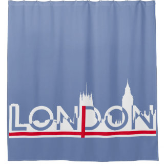 London silhouette and English flag