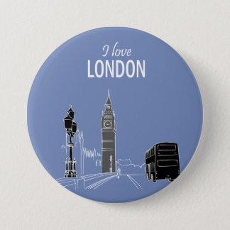 London Sketch Stylish Modern Simple Cool Modern 3 Inch Round Button