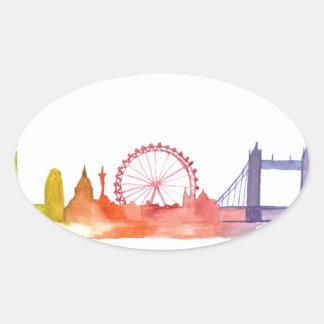 London skyline abstract art print oval sticker