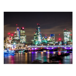 London Skyline and River Thames at Night Postcard