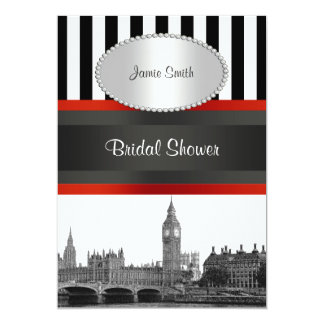 London Skyline BW Blk Wht Strp Red Bridal Shower Card