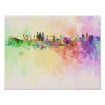 London skyline in watercolor background posters