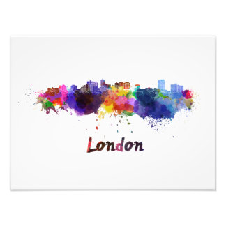 London skyline in watercolor photo print