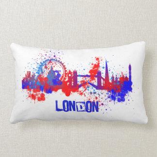 London Skyline Red White Blue Paint Splats Lumbar Pillow