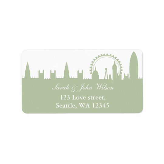 London Skyline Sage address label