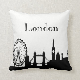 London Skyline Silhouette Front/ Xray Back Throw Pillow