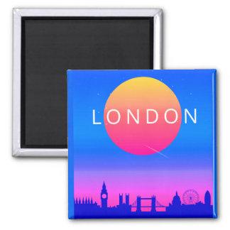 London Skyline Sunset Travel Poster Magnet