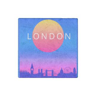 London Skyline Sunset Travel Poster Stone Magnets