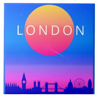 London Skyline Sunset Travel Poster Tile