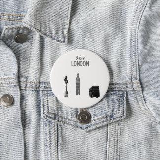 London Stylish Modern Simple Sketch Pop Art Cool 3 Inch Round Button