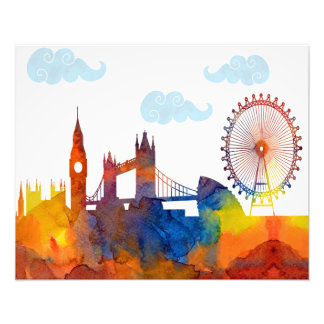 London Sunset Watercolor Abstract Skyline Print Art Photo