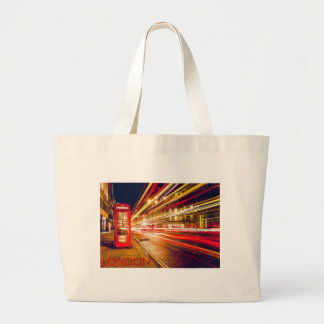 London Telephone Box at Night with Street Light Jumbo Tote Bag