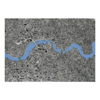 london thames travel map poster detailed drawing
