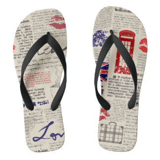 London Themed Seamless Pattern with Phone Booths Flip Flops
