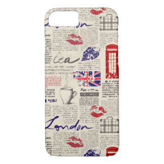 London Themed Seamless Pattern with Phone Booths iPhone 8/7 Case
