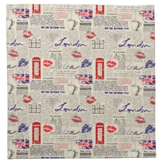 London Themed Seamless Pattern with Phone Booths Napkin