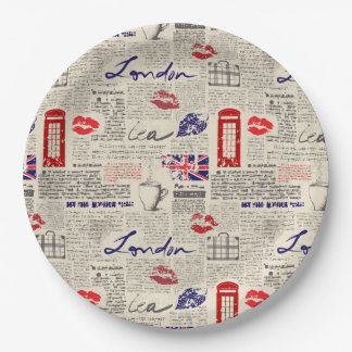 London Themed Seamless Pattern with Phone Booths Paper Plate