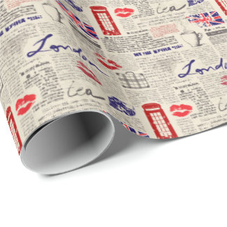 London Themed Seamless Pattern with Phone Booths Wrapping Paper