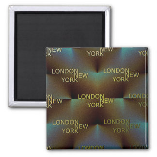 London to New York Square Magnet
