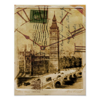 London Tower bridge clocktower big ben Poster