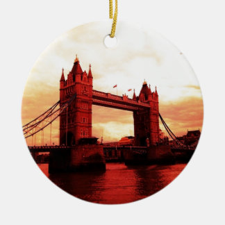 London Tower Bridge Round Ceramic Ornament