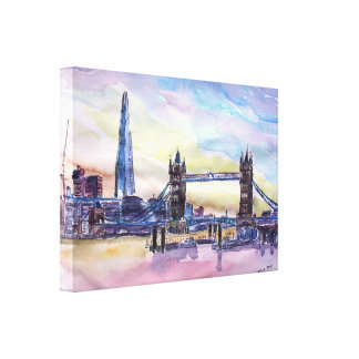 London Tower Bridge with The Shard Watercolor Art Canvas Print