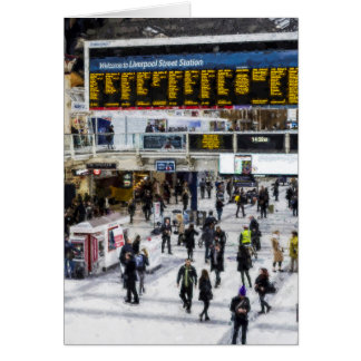 London Train Station Art Card
