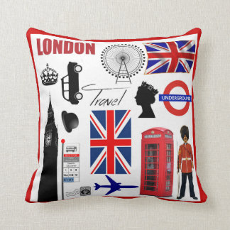 London Travel Collage Modern Union Jack Throw Pillow