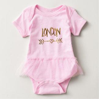 London UK Love Pink Gold Look Typography Elegant Baby Bodysuit
