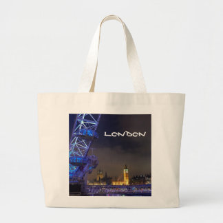 London UK  Night Landscape London Eye View Large Tote Bag