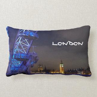 London UK  Night Landscape London Eye View Lumbar Pillow
