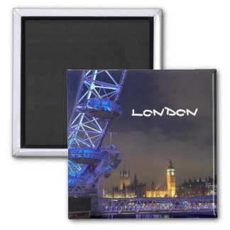 London UK Night Landscape London Eye View Magnet