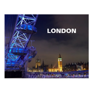 London UK  Night Landscape London Eye View Postcard